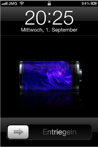 Feurige blaue Batterieanzeige beim Laden des iPhone 4
