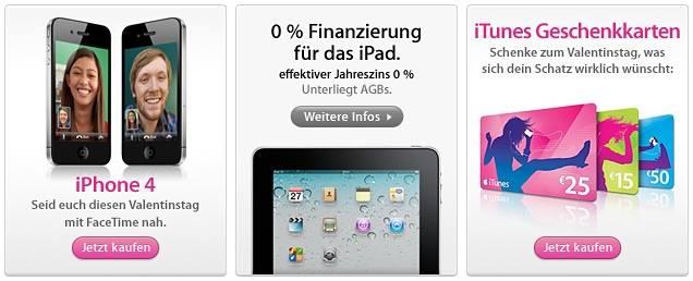 Sonderangebote im Apple Store zum Valentinstag