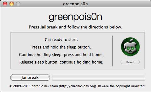 Neuster untethered Jailbreak für iPhone 4 mit iOS 4.2.1 mit Greenpois0n (rc5)