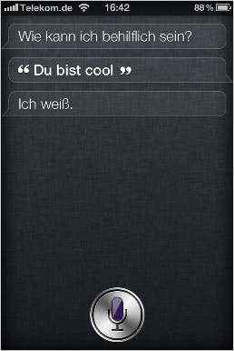 Witzige Frage an Siri (iPhone 4S): Du bist cool