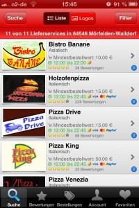 Lieferando-App im Test: Auswahl eines Dienstes