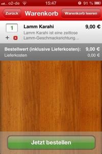 Lieferando-App im Test: Warenkorb-Ansicht
